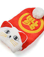 Cat Dog Hoodie Dog Clothes New Year's Embroidered Red Costume For Pets