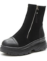 cheap -Women's Shoes Nubuck leather Winter Combat Boots Boots Round Toe For Outdoor Black