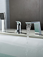 Contemporary Widespread Waterfall Handshower Included Ceramic Valve Single Handle Three Holes Chrome , Bathtub Faucet
