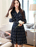 Women's Daily Going out Vintage Casual A Line Dress,Floral Round Neck Knee-length 3/4 Sleeve Polyester Spring Fall High Waist Inelastic