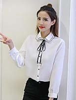 abordables -Mujer Bonito Casual/Diario Camisa,Cuello Camisero Un Color Manga Larga Licra