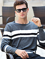 Men's Daily Wear Plus Size Casual Regular Pullover,Striped Round Neck Long Sleeves Cotton Winter Fall Medium Micro-elastic