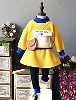 Ensembles Fille Couleur Pleine Coton Polyester Automne Hiver Manches Longues Ensemble de Vêtements