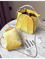 Women Bags All Seasons Velvet Bag Set 2 Pieces Purse Set Zipper for Casual Yellow