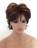 Women Synthetic Wig Capless Short Curly Medium Brown/Strawberry Blonde Highlighted/Balayage Hair With Bangs Party Wig Natural Wigs
