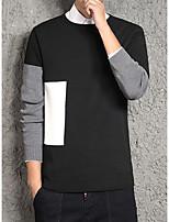 Для мужчин На выход На каждый день Длинный Пуловер Контрастных цветов,Круглый вырез Длинный рукав Полиэстер Зима Осень Средняя