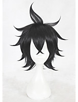 cheap -14inch Short Black Straight Black Clover Yuno Wig Synthetic Anime Cosplay Hair Wig CS-346A