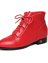 cheap -Women's Shoes Leatherette Fall Winter Fluff Lining Combat Boots Boots Flat Heel Pointed Toe Booties/Ankle Boots For Casual Red Beige Black