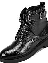 abordables -Femme Chaussures Gomme Hiver boîtes de Combat Bottes Block Heel Bout rond Pour Noir