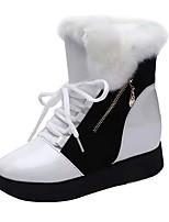 preiswerte -Damen Schuhe Kunstleder Winter Herbst Schneestiefel Modische Stiefel Stiefel Creepers Runde Zehe Booties / Stiefeletten Für Normal Weiß