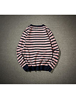 Men's Daily Going out Long Pullover,Striped Round Neck Long Sleeves Polyester Spring Fall/Autumn Thick Micro-elastic