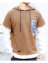 Men's Daily Hoodie Color Block Cotton