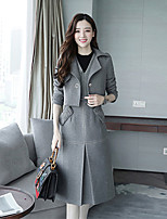 Women's Going out Casual Winter Fall/Autumn Set Dress Suits,Solid V Neck Half Sleeves Polyester