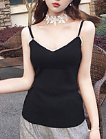 Women's Going out Casual/Daily Cute Street chic Tank Top,Solid Strap Sleeveless Polyester
