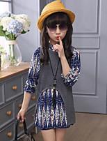 cheap -Girls' Print Clothing Set,Rayon Polyester Spring Fall Long Sleeve Street chic Green Gray