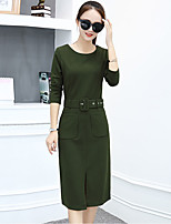 Women's Plus Size Going out Street chic Sheath Dress,Solid Round Neck Midi Long Sleeve Polyester Fall Mid Rise Micro-elastic Thick