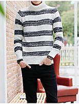 Men's Daily Casual Short Pullover,Striped Turtleneck Long Sleeve Acrylic Winter Autumn Medium strenchy