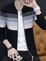 Men's Holiday Going out Simple Regular Cardigan,Print Round Neck Long Sleeves Rayon Polyester Others Spring/Fall Cross-Seasons Medium