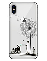 baratos -Capinha Para Apple iPhone X iPhone 8 Plus Estampada Capa traseira dandelion Macia TPU para iPhone X iPhone 8 Plus iPhone 8 iPhone 7 Plus