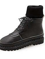 cheap -Women's Shoes PU Fall Winter Combat Boots Boots Round Toe For Casual Yellow Black White