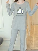 Costumes Pyjamas Femme,Animaux Coton Polyester Gris Clair Lavande