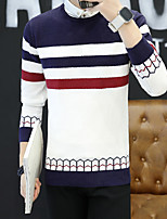 Men's Daily Street chic Regular Pullover,Striped Round Neck Long Sleeves Rayon Polyester Spring/Fall Medium Micro-elastic
