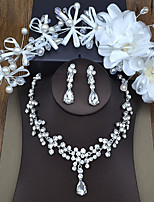 Women's Headwear Necklace Synthetic Diamond Sweet Wedding Party Birthday Engagement Valentine Alloy Crown Leaf 1 Necklace Earrings