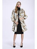 Women's Going out Simple Casual Winter Fur Coat,Color Block Long Sleeves Regular Faux Fur