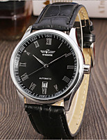 cheap -WINNER Men's Fashion Watch Dress Watch Wrist watch Automatic self-winding Hollow Engraving Leather Band Vintage Casual Black