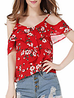 cheap -Women's Daily Going out Cute Active Sexy Spring Summer Blouse,Floral Color Block Strap Half Sleeve Polyester Medium