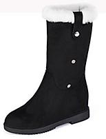 abordables -Mujer Zapatos Cachemira Invierno Botas de Combate Botas Dedo redondo Botas altas Para Casual Negro Amarillo Rojo