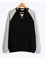 cheap -Men's Daily Going out Sweatshirt Solid Round Neck Micro-elastic Cotton Long Sleeves Winter Fall
