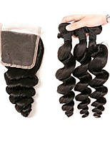 cheap -Remy Indian Natural Color Hair Weaves Loose Wave Hair Extensions 4pcs Black