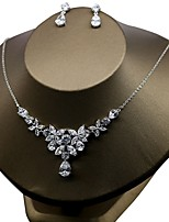 Women's Floral Zircon Earrings Necklace For Wedding Party Wedding Gifts