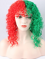 Women Synthetic Wig Short Kinky Curly Half Red and Green Party Wig New Song Snowman Celebrity Wig Fashion