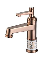 Antique Luxury Centerset High Quality Ceramic Valve Single Handle One Hole Rose Gold , Bathroom Sink Faucet