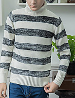 Men's Others Casual Regular Pullover,Striped Turtleneck Long Sleeves Polyester Autumn Medium Micro-elastic