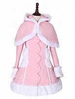 cheap -Winter Sweet Lolita Cape Coat Princess Wool Women's Girls' Adults' Coat Cosplay Pink Long Sleeves