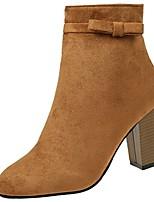 preiswerte -Damen Schuhe PU Winter Herbst Leuchtende Sohlen Stiefel Blockabsatz Spitze Zehe Mittelhohe Stiefel Für Normal Schwarz Gelb