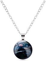 cheap -Men's Women's Circle Geometric Metallic Vintage Basic Gift Statement Jewelry Pendant Necklace Glass Alloy Pendant Necklace , Formal New