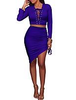 Set Jupe Costumes Femme,Couleur Pleine Soirée Bar simple Automne Hiver Manches Longues Col en V Polyester