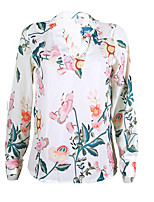 cheap -Women's Daily Going out Cute Sexy Fall Blouse,Floral Color Block Shirt Collar Long Sleeves Polyester Medium