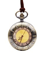 cheap -Men's Pocket Watch Chinese Quartz Large Dial Alloy Band Vintage Casual Brown