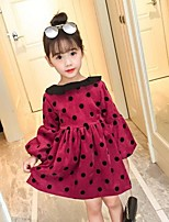 Girl's Round Dots Dress,Cotton Rayon Polyester Long Sleeves