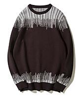 Standard Pullover Da uomo-Casual A strisce Rotonda Manica lunga Poliestere Autunno Inverno Medio spessore strenchy