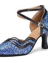 "cheap -Women's Modern Paillette Faux Leather Sandal Heel Performance Bows Customized Heel Black/Blue 4"" & Up Customizable"