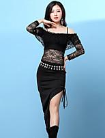 Tendremos vestidos de danza del vientre entrenamiento de las mujeres patrón de encaje spandex / imprimir vendaje manga larga vestidos altos