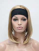 New Fashion Golden Blonde With Blonde Highlights 3/4 Wig With Headband Women's Short Straight Synthetic Half Wig