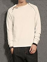 cheap -Men's Daily Going out Sweatshirt Solid Round Neck Micro-elastic Polyester Long Sleeves Winter Fall