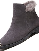cheap -Women's Shoes PU Winter Comfort Fashion Boots Boots Flat Heel Round Toe For Casual Green Gray Black